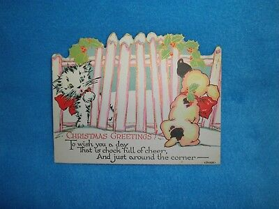 40s Vintage Christmas Postcard 2 Sided Mid Century Kitten Puppy Cat Dog Card
