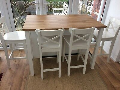 IKEA STENSTORP KITCHEN Island and 4 Ingolf Breakfast Bar ...