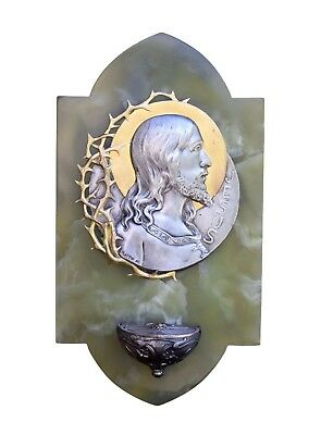 """13"""" French Antique Large Onyx Wall Holy Water Font Jesus by LO Mattei"""
