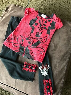 Disney Minnie Mouse Toddler Girls 3T Outfit Black Red Tshirt Leggings Set Outfit