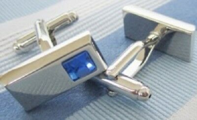 Pair Blue Stone Silver Oblong Cufflinks Shirt Cuff Links Wedding Party Gift New