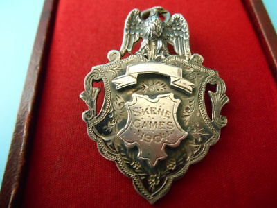 ANTIQUE SOLID SILVER FULLY HALLMARKED  ALBERT CHAIN EAGLE FOB NOT SCRAP 17.6gms