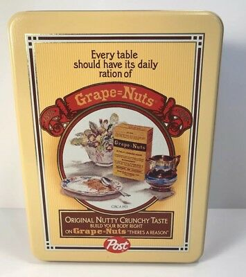 Grape Nuts Post Cereal Tin Metal Canister Collectible Vintage tin