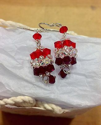 Crystal Earrings Cluster Dangle Pierced From Thailand Red Wine CoLour Fair Trade