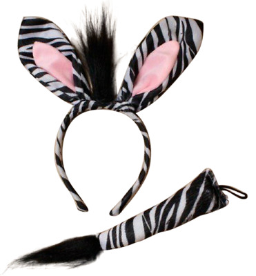 Zebra Ears and Tail Set Headband Fancy Dress Costume Accessory ONE SIZE FITS ALL