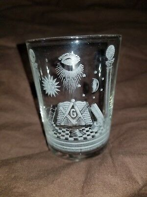 ANTIQUE LATE 19th CENTURY UNUSUAL MASONIC GLASS ALL SEEING EYE STUNNING