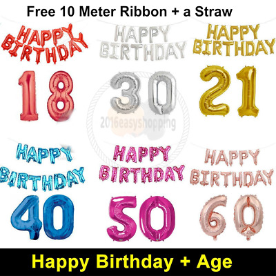 Large Happy Birthday Foil Balloon Giant Age Number Baloons Self Inflating Banner