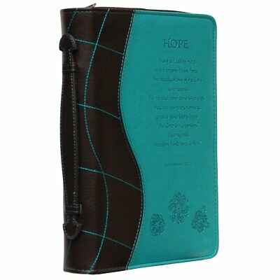 Book Cover Hope Church Bible Engraved Zipper Faux Leather Case Turquoise Large
