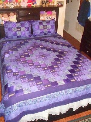 Crown Royal Quilt with Satin  Diamond Pattern with matching Pillow Shams
