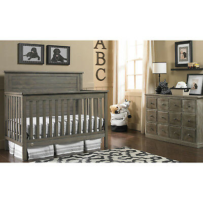 4-in-1 Convertible Crib Toddler Bed Day Full Size with Headboard Vintage Gray