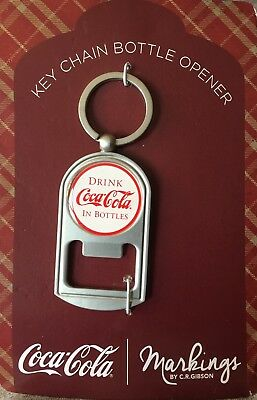 New Coca Cola Key Chain Bottle Opener Silver Red Brand New Gibson