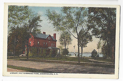 Ogdensburg NY Library and Riverside Park 1914 Curteich New York Postcard Unused