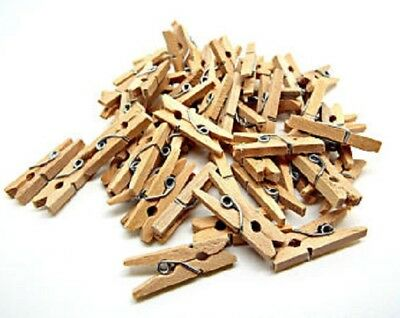 Natural wooden mini pegs craft wood colour photo hanging spring clips 25mm