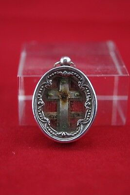 † 19Th Vera Croce Dnjc True Cross Sterling Reliquary 1 Relic Vatican Wax Seal †