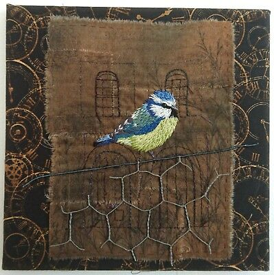 Blue Tit Hand Embroidery, Machine Embroidery and Mixed Media. Textile Art