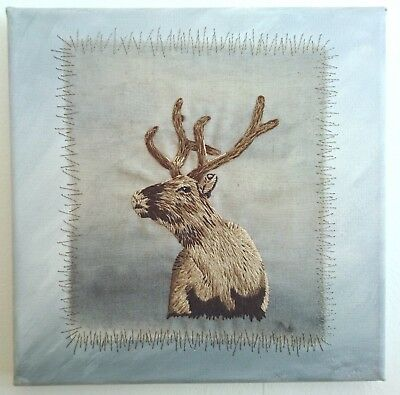 Reindeer Hand Embroidery. Textile Art