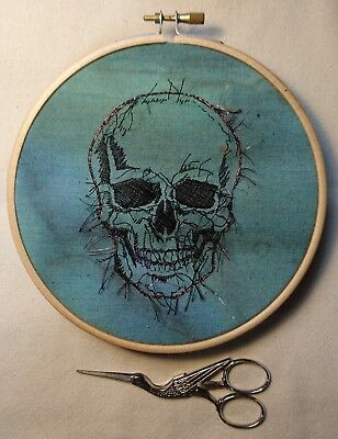 Human Skull Hoop Art Hand and Machine Embroidery