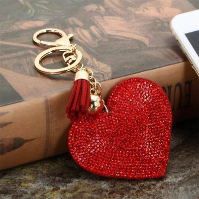 Love Heart Pendant Key Holder Leather Rhinestone Pendant Keychain  Key Ring
