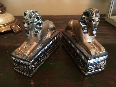 Vintage Egyptian Sphinx Bookends Set Of 2