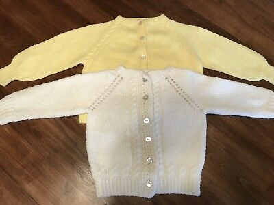Vintage Handmade Toddler Sweaters Knitted Yellow White Lot Girl