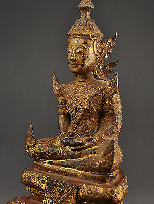 Antique gilt, lacquered bronze Buddha, Rattanakosin-period, Thailand, Asian art