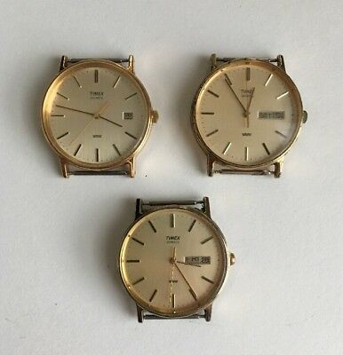 Lot Of 3 Vintage Timex Mens Watch Faces-Excellent Condition-All Work-New Batts-