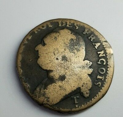1792 France 12 Deniers French Revolution Time Bronze Antique Coin King Louis XVI