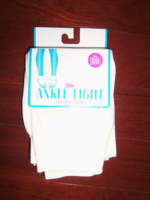 Nwt Justice Off White Nylon Stretch Ankle Tights:  Size S (7/8)