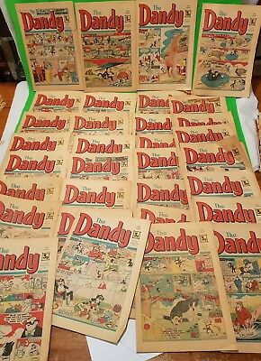 A collection of 32 vintage Dandy Comics years 1972 to 1974