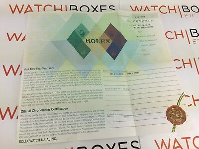 Rolex Watch Guarantee Certificate - Collectible - 2005/2006 - Undated - 179174