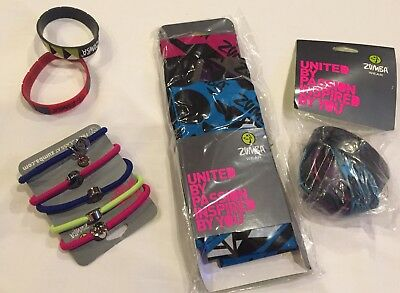 Zumba NEW 8 Rare BRACELETS 3 Bandanas, Hair Pony set lot Pink Blue Purple NWT