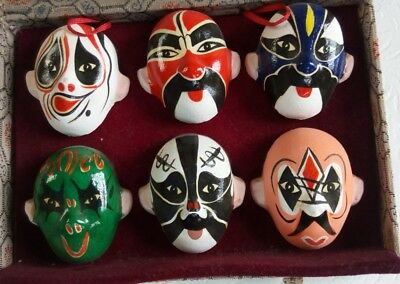 Chinese Opera miniature Hand Painted  Face Masks in silk box, set of 6
