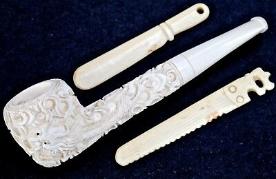 Vintage Chinese unsmoked Estate Pipe with 2 tools, hand-carved in Bovine Bone