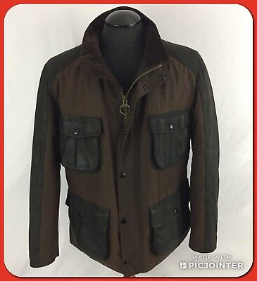 BARBOUR Waxed Cotton Leather Field Utility Brown Black Jacket Coat Mens Sz Large