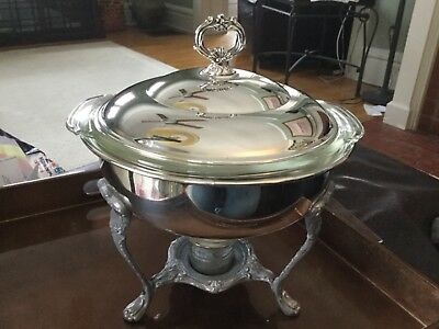 Vintage Footed Silver Plate sheffield Chafing Dish, 3 pc Anchor Hocking