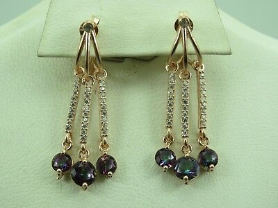 Turkish Handmade Jewelry 925 Sterling Silver Rainbow Stone Ladies' Earrings