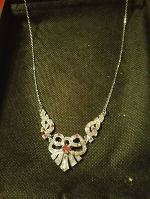 Vintage Art Nouveau Style Silver Rhinestone Diamante Bow Necklace