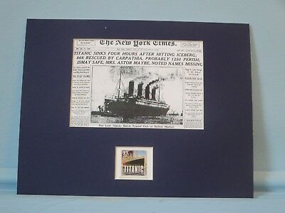 The Titanic sinking reported by the New York Times & its own stamp