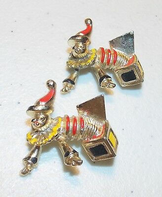 Whimsical Jewelry Lot of 2 Vintage Enamel Jack in the Box Gold Tone Scatter Pins