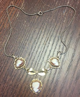 Vintage 12kt Gold Fill Victorian Bow 3 Carved Shell Cameo Heart Drop Necklace