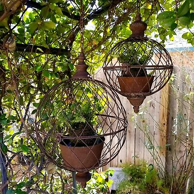 Antique Cottage Style Metal Wire Hanging Basket Garden Planter Cages Set of 2