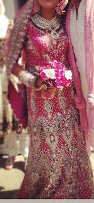 Heavy pink and plum bridal 3 piece lengha size 10