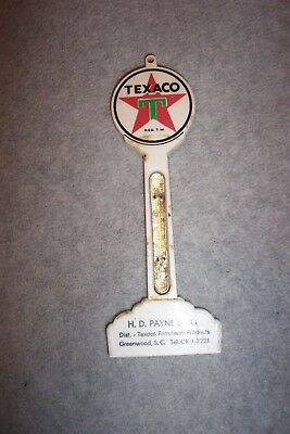 Vintage  Small Texaco Advertising Plastic Thermometer - No Tube - Geenwood, S.c.