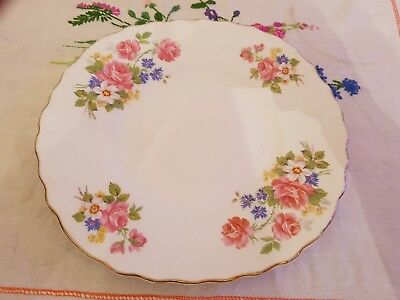 Vintage Royal Vale pink roses floral design bone china cake plate vgc