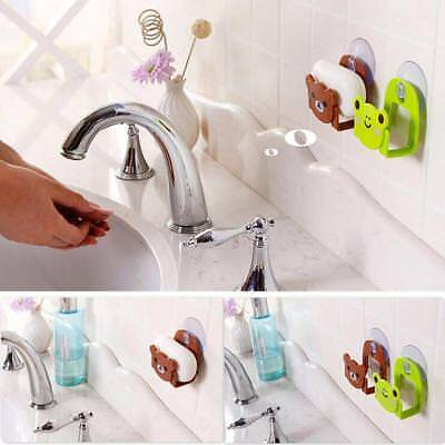 Cute Plastic Bathroom Kitchen Strong Suction Soap Dish Shower Tray Wall Holder~