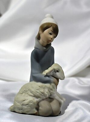 Vintage Lladro Boy with Lamb Figurine Matte Finish Excellent