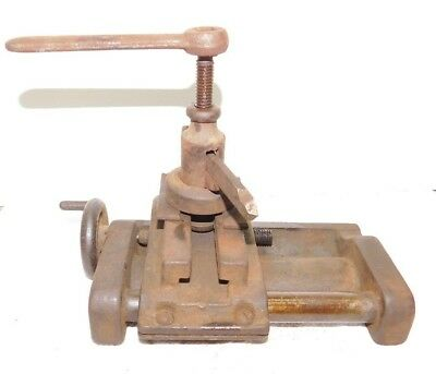 Antique Vtg Metal Lathe Cross Slide with Lantern Tool Rest and Wrench Unknown
