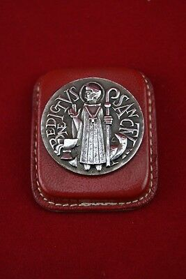 † Art Deco St Benedict Silver Medal Leather Magnet Exorcism Protector France †