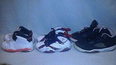 ~ NO RESERVE AUCTION ~ Youth Nike Air JORDAN Sneaker Lot 3 Pair Size 2Y, 3Y, 6Y