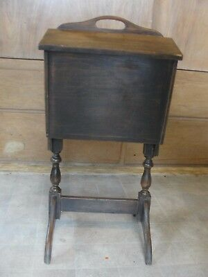 VINTAGE antique TALL WOOD SEWING BOX. STORAGE NOTIONS ON STAND LEGS